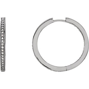 14K White 3/8 CTW Diamond Inside/Outside Hoop Earrings