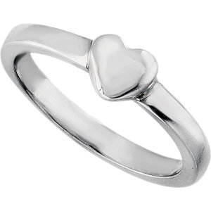 Sterling Silver Heart Fashion Ring Size 7