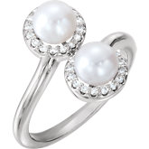 Two-Stone Halo-Style Pearl Ring