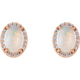 Oval 4-Prong Halo-Style Earrings
