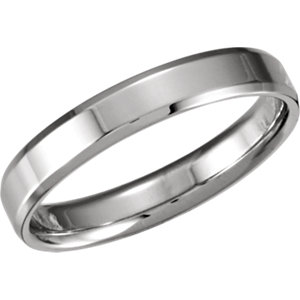 14K White 4mm Beveled Edge Comfort-Fit Band Size 5