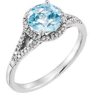 14K White 1/5 CTW Diamond & Sky Blue Topaz Ring
