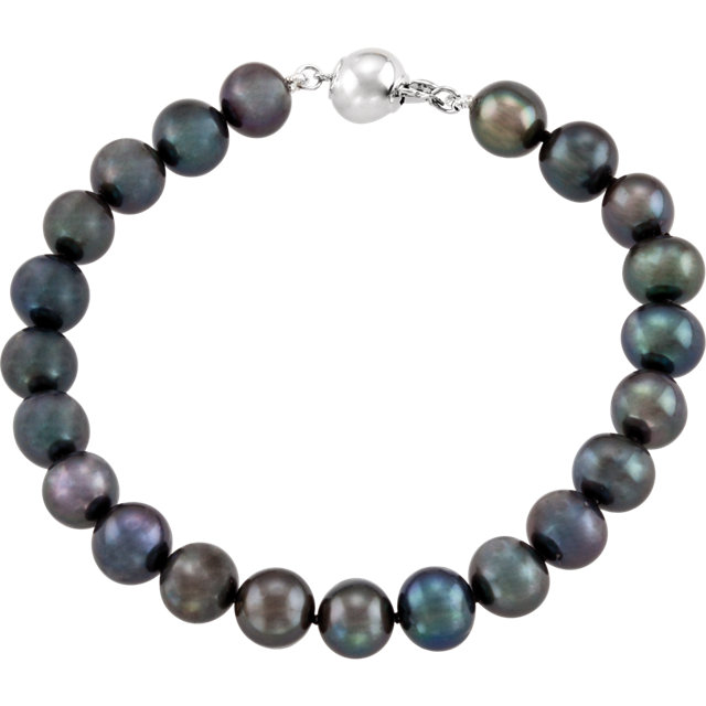 Sterling Silver Freshwater Cultured Black Pearl 7.75