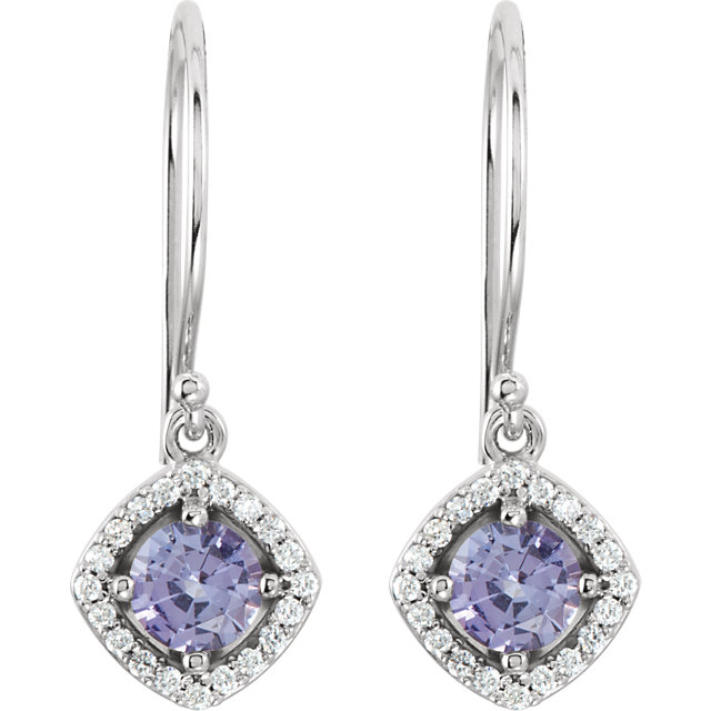14K White Tanzanite & 1/5 CTW Diamond Earrings