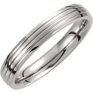 Titanium 4mm Triple Grooved Band Size 7