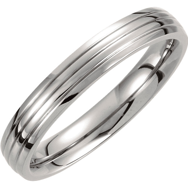 Titanium 4 mm Triple Grooved Band Size 7