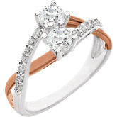 Accented Two-Stone Engagement Ring or Band