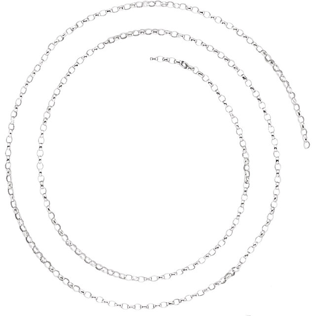 14K White 1.5 mm Belcher Rolo Chain by the Inch