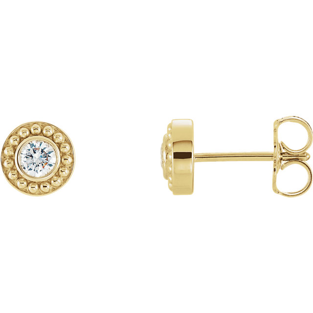 14K Yellow 1/5 CTW Diamond Beaded Earrings