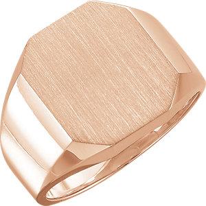Fashion Rings , 10K Rose 16x14mm Men's Signet Ring