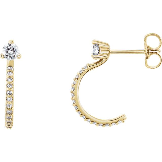 14K Yellow 1/3 CTW Diamond J-Hoop Earrings