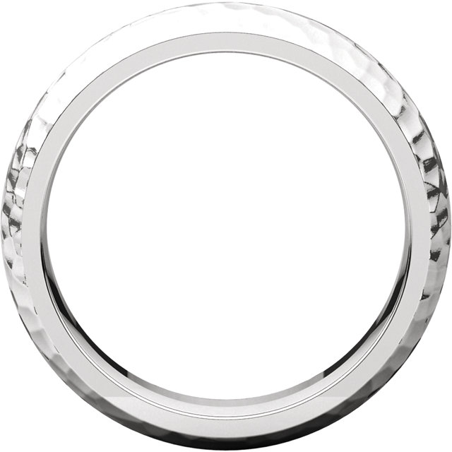 14K White 6 mm Comfort-Fit Hammer Finish Band Size 9