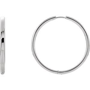 14K White 24mm Hinged Hoop Earrings