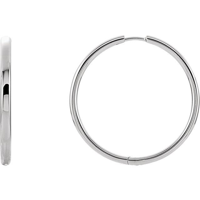 14K White 29 mm Hinged Hoop Earrings