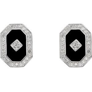 Sterling Silver Onyx & CZ Halo-Style Earrings
