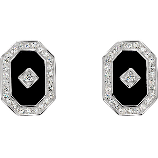 Sterling Silver Onyx & Cubic Zirconia Halo-Style Earrings