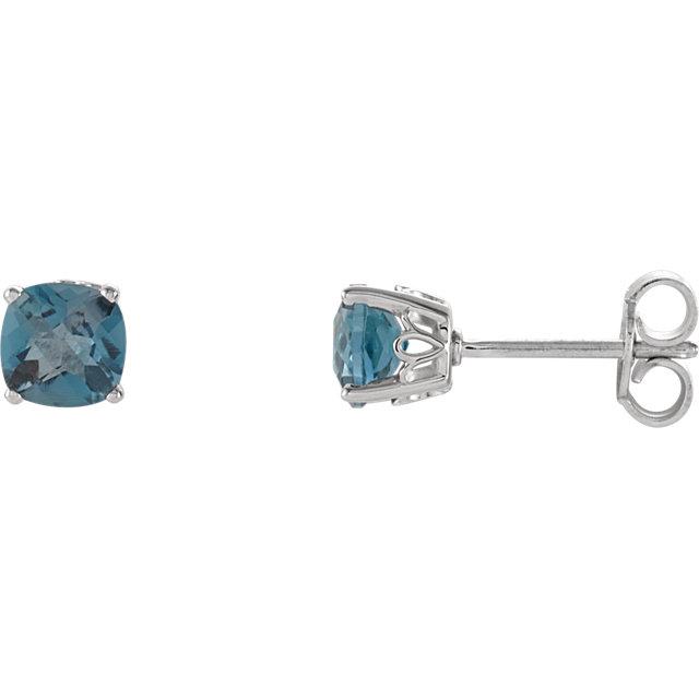 Sterling Silver 5x5 mm Cushion London Blue Topaz Scroll Setting® Earring