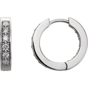 14K White 1/2 CTW Diamond Hoop Earrings