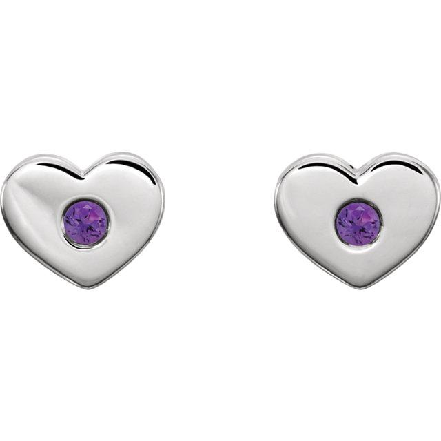 14K White Amethyst Heart Earrings