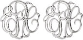 14K White 13 mm 3-Letter Script Monogram Earrings