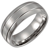Titanium Grooved Comfort Fit 8mm Band