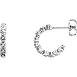14K White 1/10 CTW Diamond J-Hoop Earring