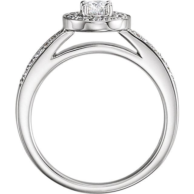 14K White 1/2 CTW Diamond Halo-Style Engagement Ring