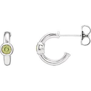14K White Peridot J-Hoop Earrings