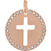 Accented Pierced Cross Disc Necklace or Pendant