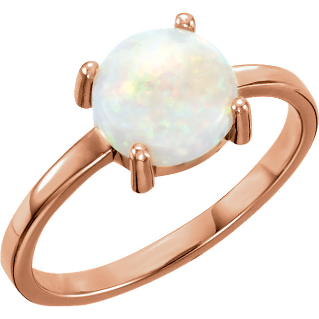 14K Rose 6 mm Round Opal Cabochon Ring