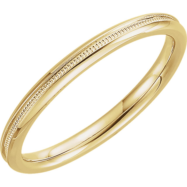 14K Yellow 2mm Comfort Fit Milgrain Band Size 5