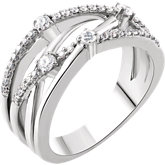 Accented Criss Cross Ring