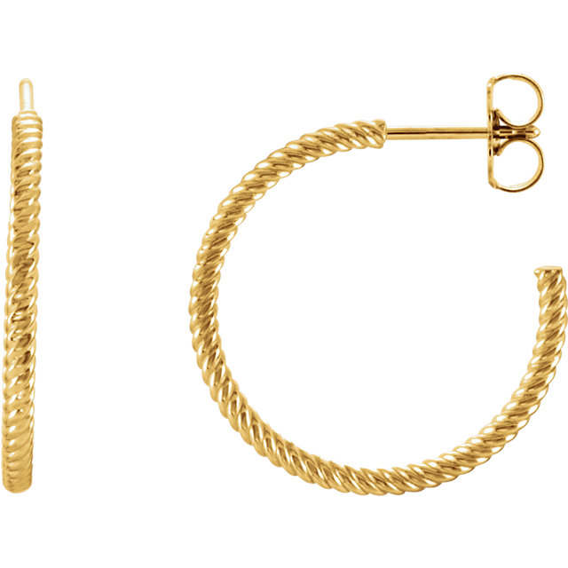 14K Yellow 21 mm Rope Design Hoop Earrings