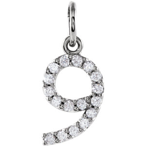Charm / Pendant, 14K White .08 CTW Diamond Numeric Charm or Pendant