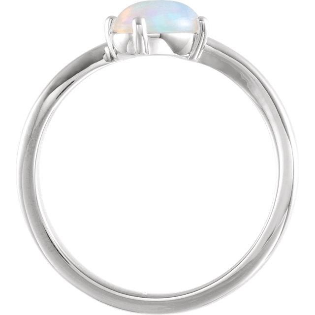 14K White Ethiopian Opal & .015 CT Diamond Bypass Ring