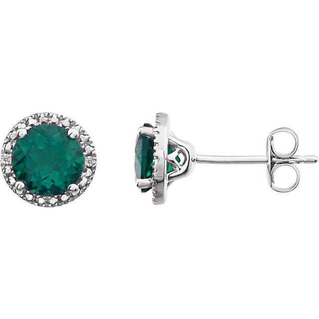 Sterling Silver Created Emerald & .01 CTW Diamond Earrings