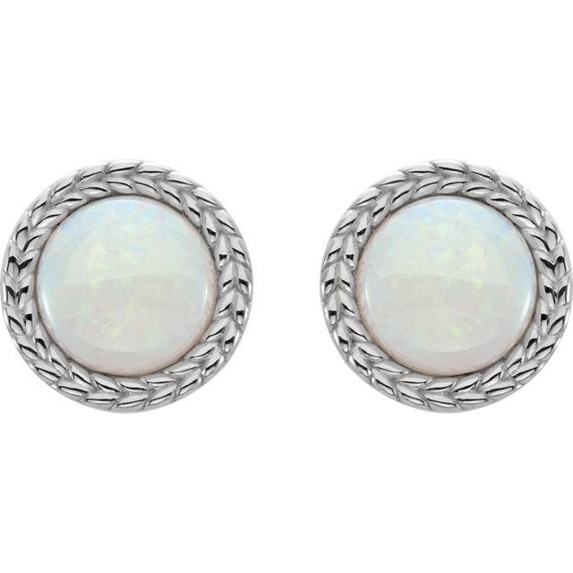 14K White Opal Earrings
