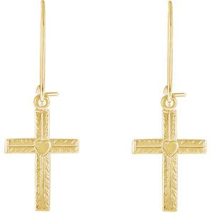 14K Yellow 13x10mm Heart Design Cross Earrings