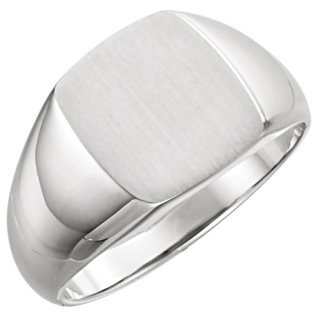 Sterling Silver 13x12 mm Rectangle Signet Ring Size 11