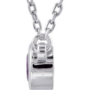 Sterling Silver Amethyst Bezel 18