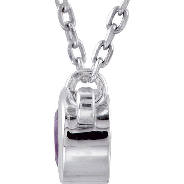 Sterling Silver  Amethyst Bezel 16