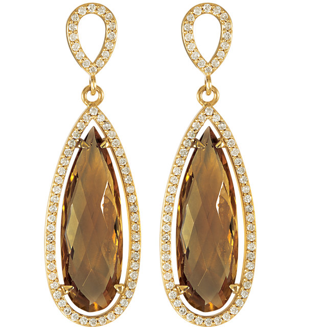 14K Yellow Honey Quartz & 5/8 CTW Diamond Earrings
