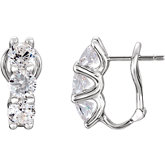3-Stone Cubic Zirconia Earrings
