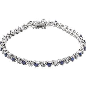 14K White Lab-Grown Blue Sapphire & 1/10 CTW Diamond Line 7