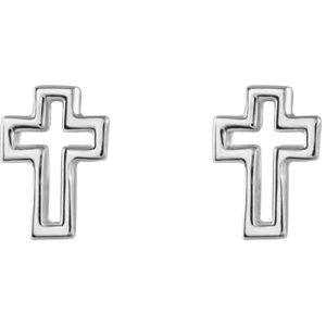 14K White Open Cross Earrings