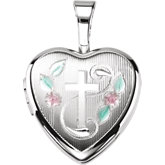 Enameled Roses & Cross Heart Locket