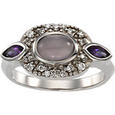 Bezel Set Accented Vintage-Inspired Ring