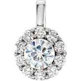 Charles & Colvard Moissanite® & Diamond Accented Halo-Style Necklace or Pendant
