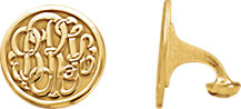 14K Yellow Gold-Plated Sterling Silver 18 mm 3-Letter Script Monogram Cuff Links