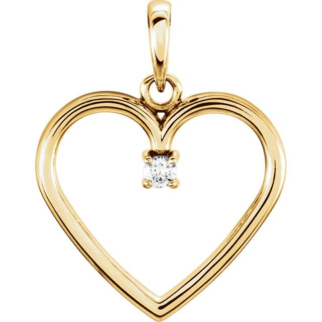 14K Yellow .025 CTW Diamond Heart Pendant